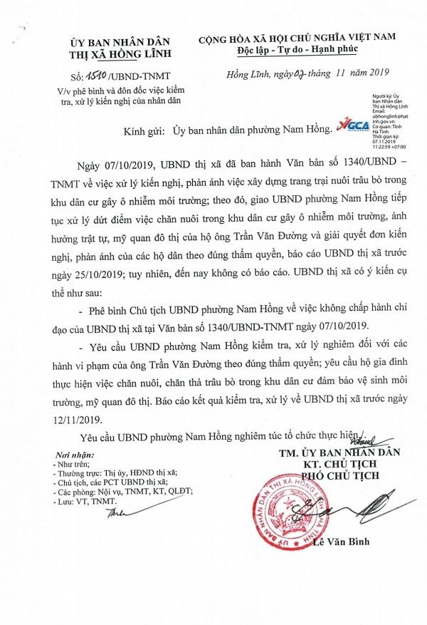 Văn bản của UBND thị xã Hồng Lĩnh