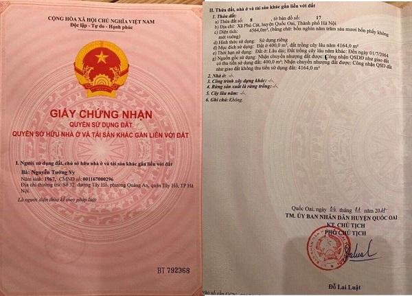 """Giấy chứng nhận quyền sử dụng đất của bà Nguyễn Tường Vy tại thửa đất số 8, tờ bản đồ số 17 (xã Phú Cát, huyện Quốc Oai, Hà Nội) đang được hình thành dự án """"ma"""""""