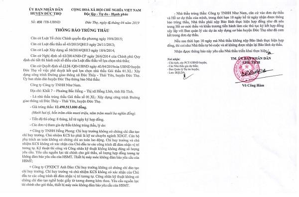 Thông báo trúng thầu gói Xây dựng công trình Đường giao thông xã Đức Thủy – Thái Yên