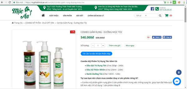 Combo Mỹ Phẩm Trị Rụng Tóc quảng cáo trên website của Công Ty TNHH Dược Mỹ Phẩm CoCoCherry Việt Nam