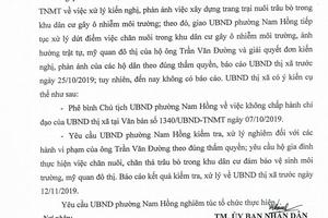 Chủ tịch UBND phường Nam Hồng, Hà Tĩnh: Không chấp hành chỉ đạo - Bị phê bình