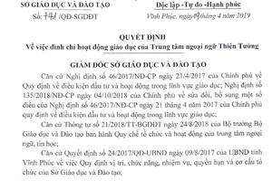 Vĩnh Phúc: Đình chỉ hoạt động giáo dục Trung tâm ngoại ngữ Thiên Tường