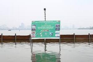 Nước hồ Tây trong veo sau khi thí điểm công nghệ làm sạch Nhật Bản