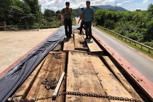 Dùng xe tải biển số giả vận chuyển gỗ lậu ra Bắc tiêu thụ