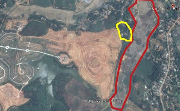 Tổng thể dự án Thiên Đức Vĩnh Hằng Viên, trong đó, khoanh màu đỏ là diện tích đất nông nghiệp bị xô bồi, khoanh màu vàng là nhiều nhà dân có nguy cơ bị vùi lấp.