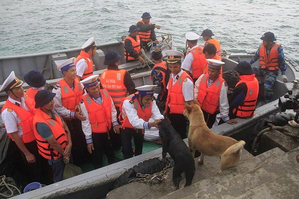 Trên các đảo ở Trường Sa đều có nuôi chó. Cán bộ, chiến sĩ ở đảo rất quý chúng. Nhiều khi nhường cả những thứ quý giá như sữa, thịt hộp cho chó. Các chú chó ở Trường Sa cũng rất khôn có thể cùng đi tuần tra, canh gác, săn bắt cá cùng bộ đội. Trong ảnh là khoảnh khắc hai chú chó trên đảo Tiên Nữ ra cầu cảng tiễn các chiến sĩ về đất liền. Ảnh: Trường Phong