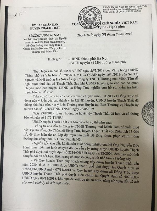 Văn bản UBND huyện Thạch Thất báo cáo về vụ việc.