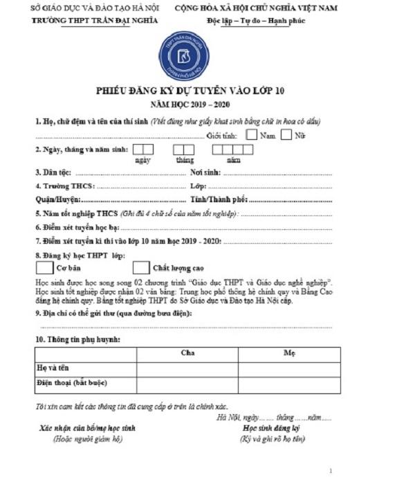 Phiếu đăng ký dự tuyển vào lớp 10 năm học 2019 - 2020 của trường THPT Trần Đại Nghĩa.