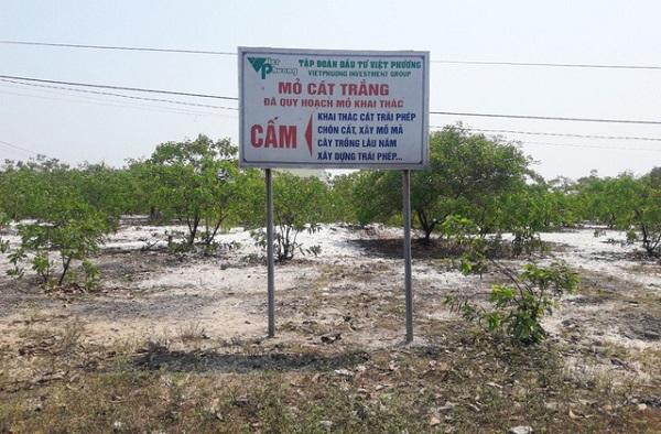 Mỏ cát trắng của Công ty CP Tập đoàn Đầu tư Việt Phương