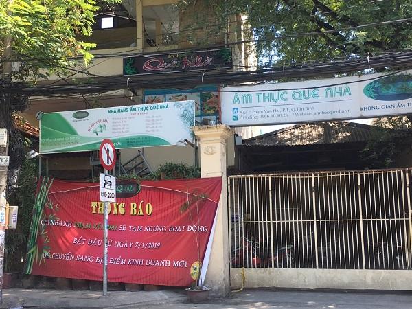 Nhà hàng Quê Nhà đã có thông báo di dời chính thức vào sáng ngày 7/1