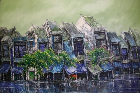 Oil painting - Old Quater - Nguyen Minh Son Artist