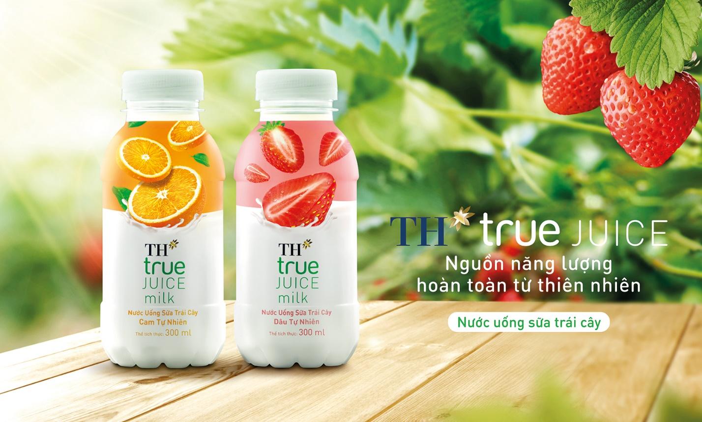 Bao bì trẻ trung, bắt mắt của sản phẩm Nước uống sữa trái cây TH true JUICE milk.