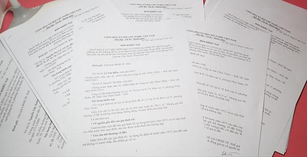 Đơn khiếu nại của bà con được gửi đến lãnh đạo UBND TP Huế xem xét.