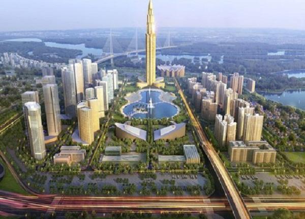 Phối cảnh khu trung tâm dự án thành phố thông minh bắc Hà Nội