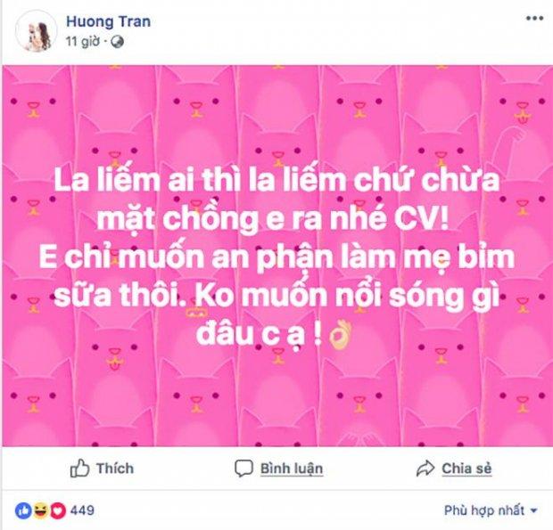 """Status của vợ Việt Anh viết ra để """"dằn mặt"""" người mà """"ai cũng biết là ai đấy""""."""