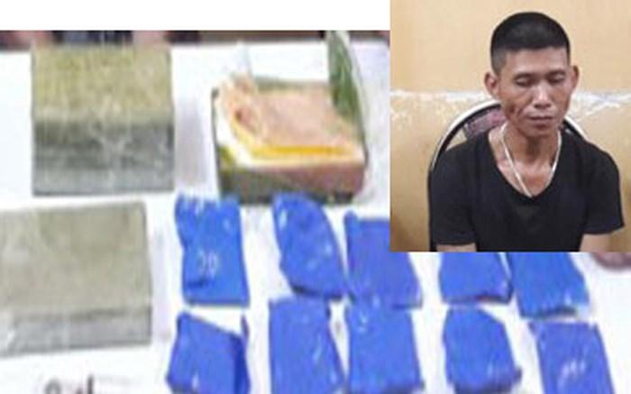 Bắt đối tượng vận chuyển 4 bánh heroin và 2000 viên ma túy tổng hợp