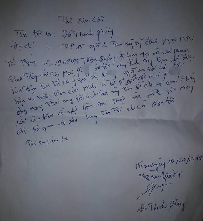 Nam thanh niên viết thư xin lỗi chị P. sau những gì đã gây ra.