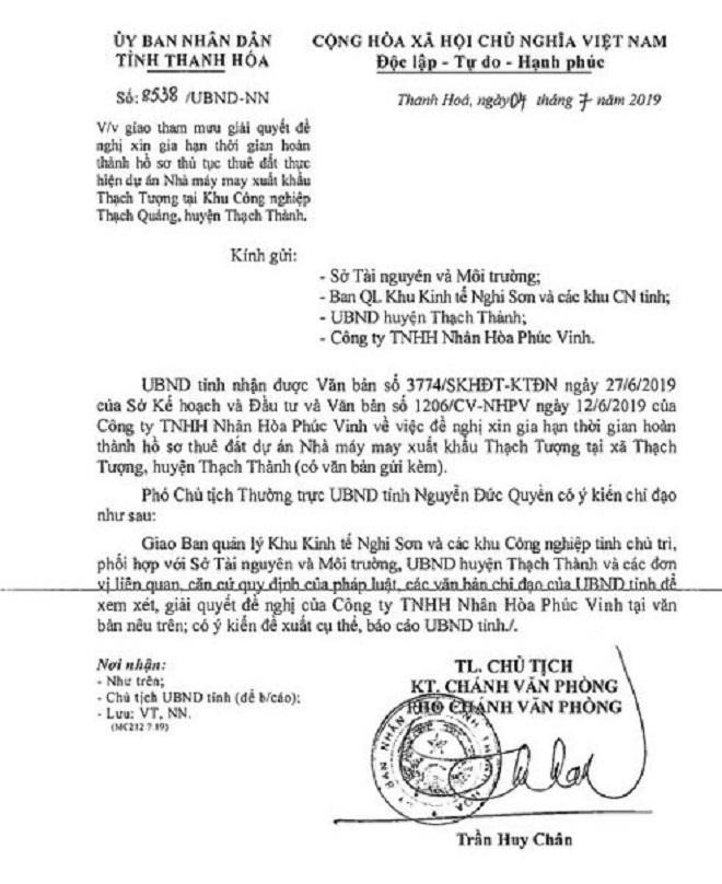 Ngày 04/07/2019, UBND tỉnh Thanh Hóa lại có công văn số 2538/UBND –NN, về việc giao tham mưu giải quyết đề nghị xin gia hạn thời gian hoàn thành các thủ tục, hồ sơ cho Cty TNHH Nhân Hòa Phúc Vinh.