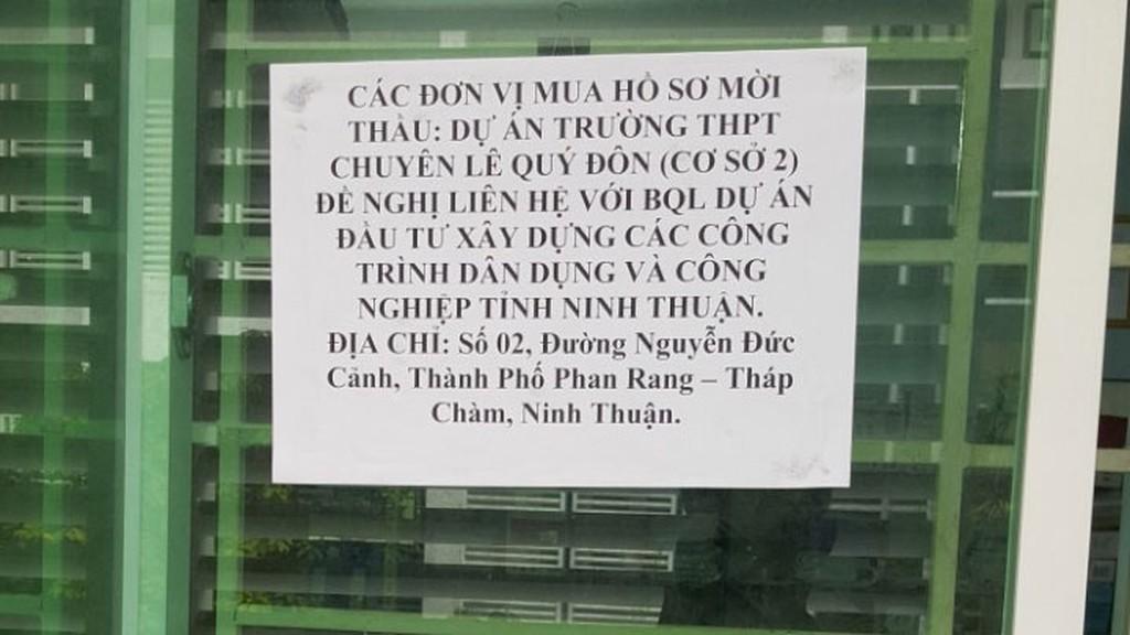 Sở GD&ĐT Ninh Thuận thông báo chuyển địa điểm phát hành HSMT sang Ban QLDA ĐTXD các công trình dân dụng và công nghiệp Ninh Thuận. (Ảnh nhà thầu cung cấp)