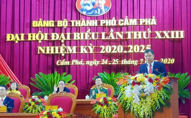 Đồng chí Nguyễn Mạnh Cường, Phó Bí thư Thành ủy, Chủ tịch UBND Thành phố Cẩm Phả phát biểu tại Đại hội.