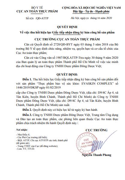 Quyếtđịnh thu hồi giấy tiếp nhậnđăng ký công bố sản phẩm