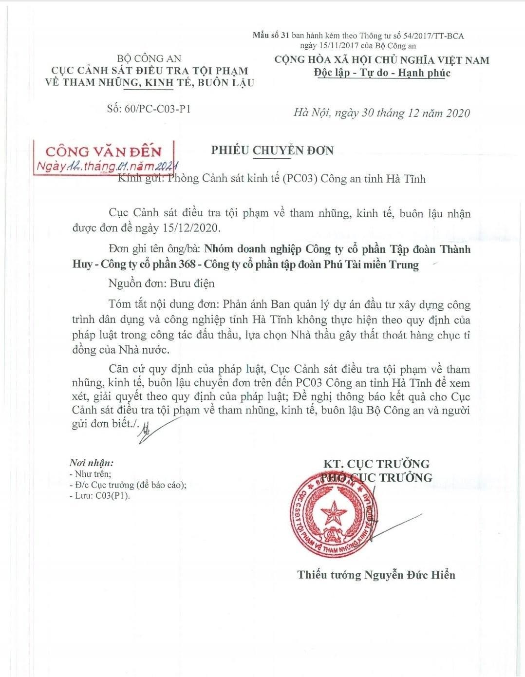 An ninh - Hình sự - Công an xác minh nghi án 'sân sau' vi phạm đấu thầu tại Hà Tĩnh (Hình 3).