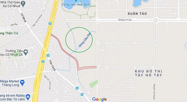 Sơ đồ tuyến đường đến đoạn giao cắt với đường nêu ở mục 1 giáp mảnh đất qui hoạch đào hồ (vòng tròn xanh). (Ảnh: Google) Nguồn: Vietnambiz.