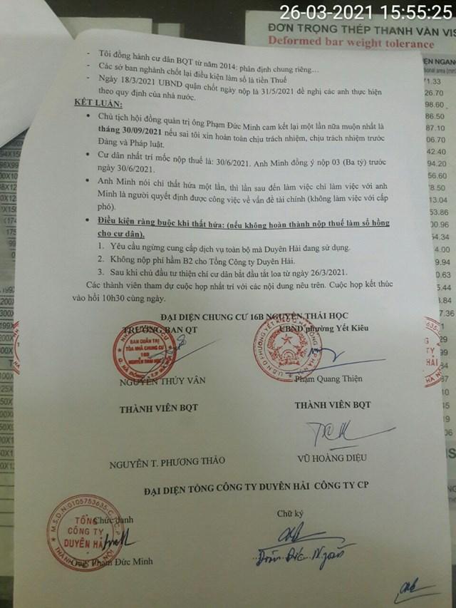 Nội dung cam kết củaông Phạm Đức Minh - Chủ tịch Công ty Duyên Hải và chữ ký xác nhận của các bên liên quan