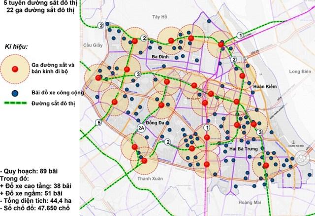 Giải pháp tổ chức không gian theo mô hình TOD và các bãi đỗ xe tại các đồ án quy hoạch phân khu nội đô lịch sử.