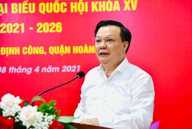 Bí thư Thành ủy Hà Nội Đinh Tiến Dũng phát biểu tại hội nghị.