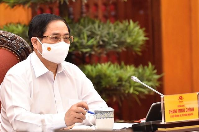 Thủ tướng Phạm Minh Chính nêu rõ, qua 20 ngày của đợt bùng phát dịch thứ 4, đến giờ này, chúng ta vẫn cơ bản kiểm soát được tình hình trên cả nước, chưa phát hiện ổ dịch mới không rõ nguồn lây - Ảnh: VGP/Nhật Bắc
