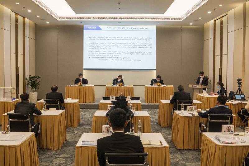 Đại hội đồng cổ đông 2021 của Thaco được tổ chức trực tuyến để tuân thủ nguyên tắc phòng, chống dịch Covid-19.