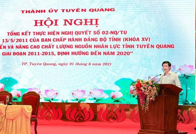 Bí thư Thành ủy Tạ Đức Tuyên phát biểu tại Hội nghị - Ảnh: Trung tâm Văn hóa, Thôn tin và Thể thao TP Tuyên Quang