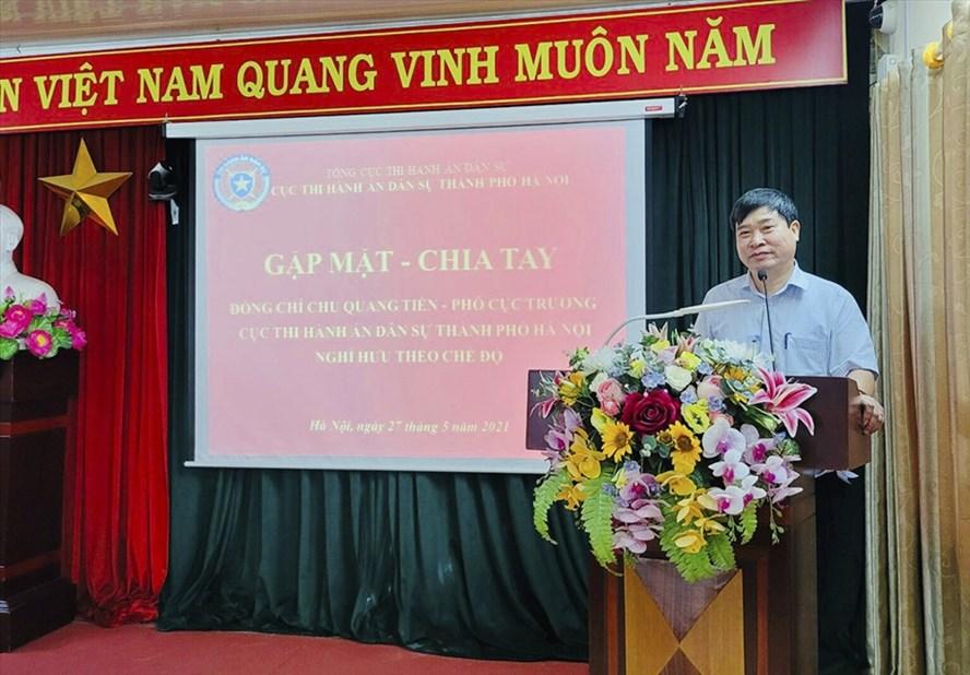 Cục phó THADS TP.Hà Nội Chu Quang Tiến tại lễ chia tay hôm 27.5.2021. Ảnh: thads.moj.gov.vn.