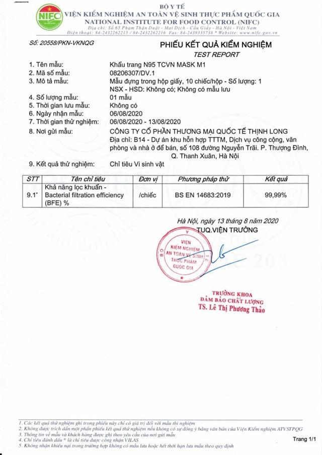 Kết quả kiểm nghiệm khẩu trang N95 Promask Thịnh Long đạt khả năng lọc khuẩn tới 99,99%
