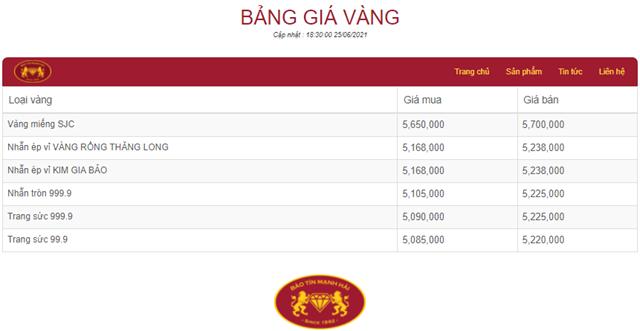 Giá vàng tham khảo tại Bảo Tín Mạnh Hải. Nguồn: https://giavang.baotinmanhhai.vn/