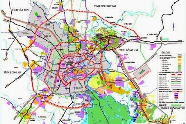 Sơ đồ quy hoạch các tuyến vành đai của TP HCM. (Ảnh: Báo Chính phủ).