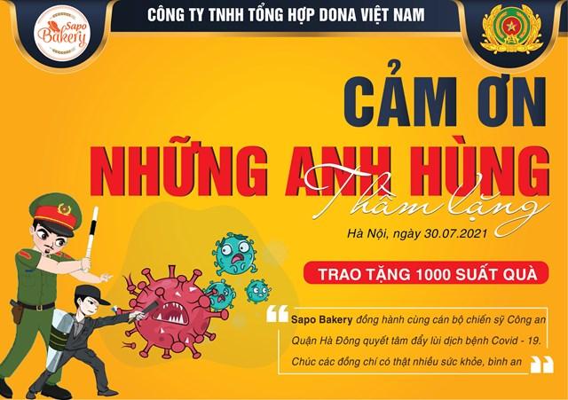 DONA Việt Nam - SAPO Bakery - KUN Bakery: Đồng hành cùng Công an quận Hà Đông đẩy lùi dịch Covid-19 - Ảnh 1