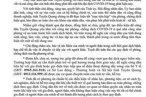 Chủ tịch UBND tỉnh Tuyên Quang gửi thư cho công dân đang sinh sống, làm việc và học tập tại các tỉnh, thành phố trong cả nước
